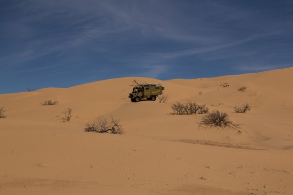 Rinding a Merc in the desert