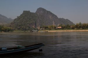 The Mekong river seen from the boat station of the 1000 Bhudda cave